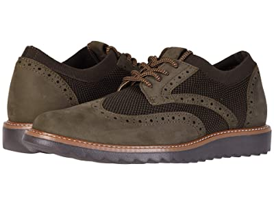 Dockers Hawking Knit/Leather Smart Series Dress Casual Wingtip Oxford with NeverWet (Olive Tweed Knit/Nubuck) Men