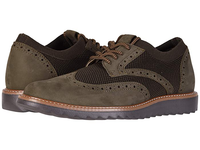 Dockers  Hawking Knit/Leather Smart Series Dress Casual Wingtip Oxford with NeverWet (Olive Tweed Knit/Nubuck) Mens Lace up casual Shoes