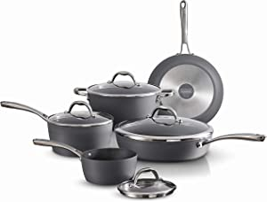 Tramontina Gourmet Induction Aluminum Nonstick Made in Italy, Slate Gray 9-Piece Cookware Set