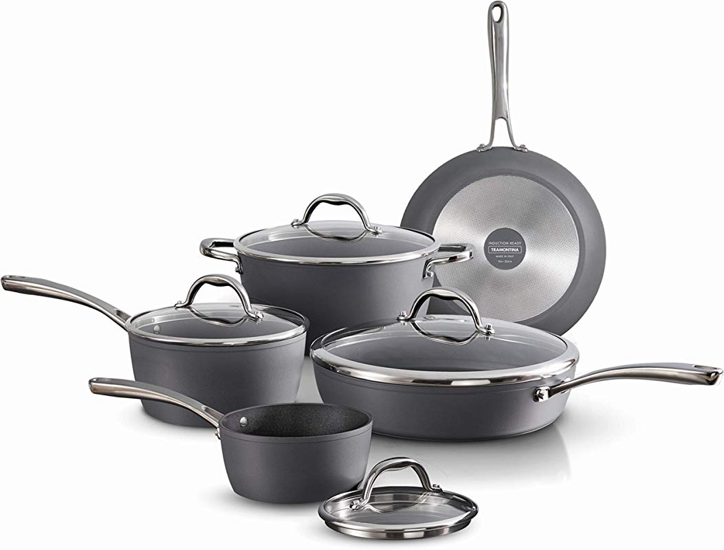 Tramontina 80110 225DS Gourmet Induction Aluminum Nonstick Made In Italy Slate Gray 9 Piece Cookware Set
