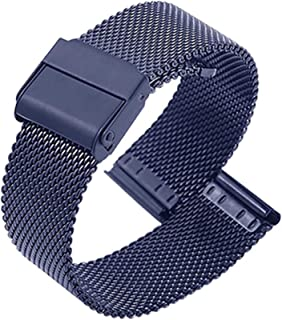 Correa de repuesto para reloj de pulsera, de malla de acero inoxidable, cierre rápido, para hombre y mujer, de metal, de c...