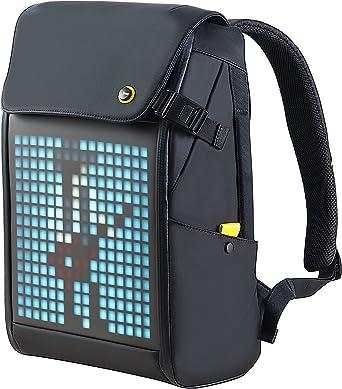 Divoom Pixoo Pixel Art Laptop Rucksack Herren , 15 Zoll Wasserdicht Schulrucksack Laptop Backpack Tasche Damen Daypack mit 16X16 RGB LED Bildschirm für Männer Frauen Schule Arbeit Reisen, Schwarz
