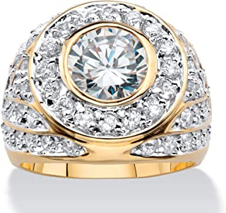 Men's 14K Yellow Gold Plated Round Cubic Zirconia...