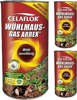 GARDOPIA Sparpaket: 3 x 250 g Celaflor Wühlmaus-Gas Arrex Maulwurf Vergrämungs Vertreibungsmittel + Gardopia Zeckenzange m...