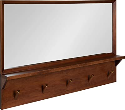 Kate and Laurel Hinter Mid-Century Wood Framed Pub Mirror, 36 x 24, Walnut, Modern Wall Organizer with Mirror and Five Hooks