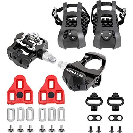 """Venzo Sealed Fitness Exercise Spin Bike CNC Pedals Compatible with - Look ARC Delta - Shimano SPD- Toe Clip or Cage - 9/16"""" Thread for Peloton - Options: Double, Triple, Toe Clips"""