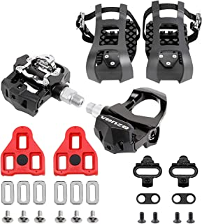 1 Pair Mountain Road Bike Fixed Gear Bicycle Pedals with Toe Clips Straps #JD