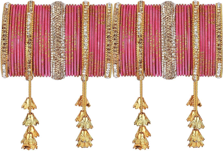 Efulgenz Indian Bangle Set Boho Antique Oxidized Indian Jewelry Rhinestone Crystal Metal Bracelet Bangle Set