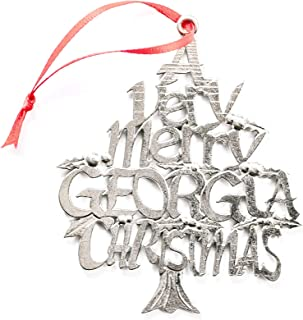 American Handmade Georgia GA Christmas Ornament Atlanta Holiday Gift Pewter