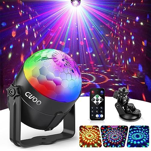 Lampe de Scène, Gvoo 3 Couleur Lumière Fête 5W Ampoules LED 7 RGB à Commande Sonore Mini Projecteur Boule Cristal Ecl...