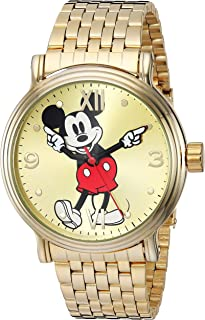 Disney Men's Mickey Analog-Quartz Watch with Stainless-Steel Strap, Gold, 20.7 (Model: WDS000685