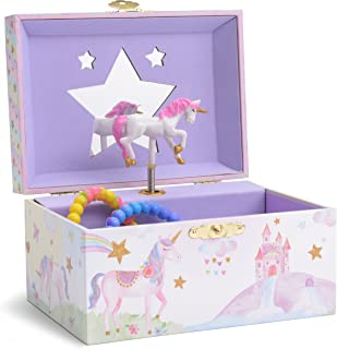 Jewelkeeper Girl's Musical Jewelry Storage Box with Spinning Unicorn, Glitter..
