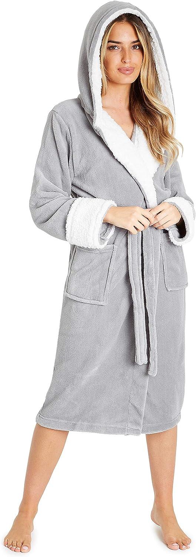 CityComfort Bata de Estar por Casa Mujer Invierno con Capucha, Ropa de Dormir Suave Material de Forro Polar, Batín Tejido Peluche Accesorios Mujer, Regalos para Mama