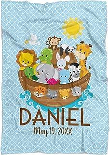 Noah's Ark Blanket - Baby Blue Noahs Ark Personalized Baby Name Blanket