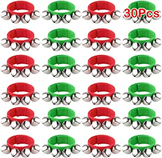 FEPITO 30 Pieces Christmas Band Wrist Bells Bracelets Jingle Bells Musical Ankle Bells Rhythm Instrument Percussion Christ...