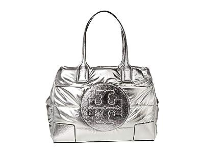 Tory Burch Ella Metallic Mini Puffer Tote (Silver) Bags