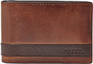 Fossil Men's Leather Money Clip Bifold Wallet, Quinn- Brown, One Size