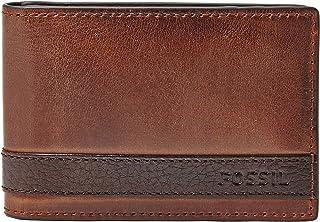 محفظة جلدية ثنائية الطي بمشبك نقود للرجال من فوسيل - بني، مقاس واحد