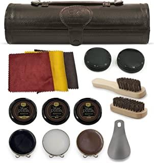 Kit de cirage et d'entretien Stone & Clark 12PC, Kit de cirage pour chaussures en cuiravec cire marron, Brosses pour cirag...