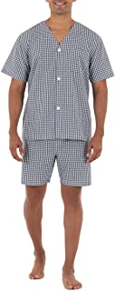 Fruit of the Loom Men's Broadcloth Short Sleeve Pajama Set