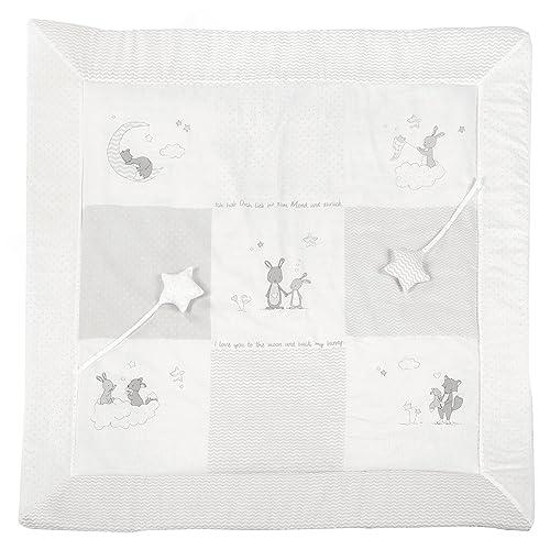 roba Spiel- & Krabbeldecke 'Fox & Bunny', Baby's gepolsterte Spielunterlage / Laufgittereinlage 100x100cm, 100% Baumwolle, inkl. Baby-Spielzeug