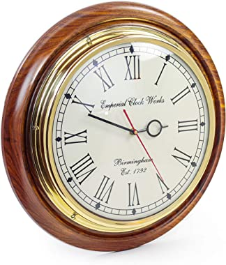 Nautical Brass Time's Wall Clock with Roman Numerals On Rosewood Premium Base | Hand Crafted Gifts & Decor | Nagina Internati