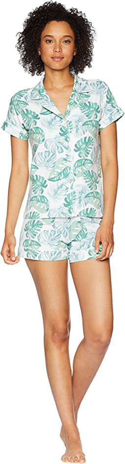 Palm Tree Short Sleeve Shorts Pajamas