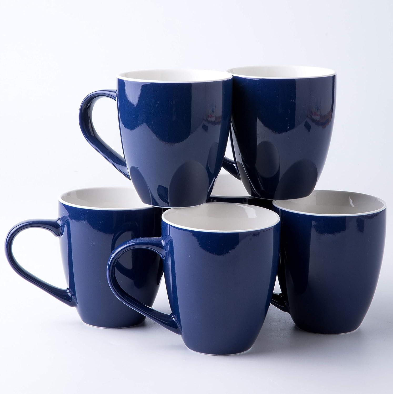 Set of 6-17 oz Cobalt Blue Professional Porcelain Bistro Collection Lungo Mugs Amuse