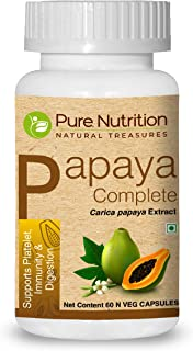 Pure Nutrition Papaya Complete - 60 Veg Capsules (Supports Platelet Immunity & Digestion) Each Capsule Contains 500mg Cari...