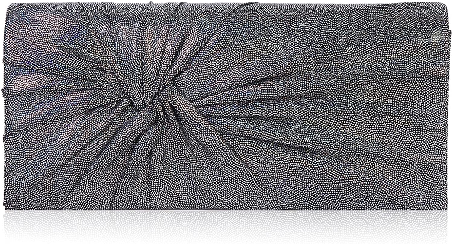 Damara Womens Pleated Shining Embellished Clutch Evening Party Bag,Silver