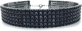 Black Rhinestone Choker 3 5 8 Row Women's Crystal Necklace Diamond Collar with 5