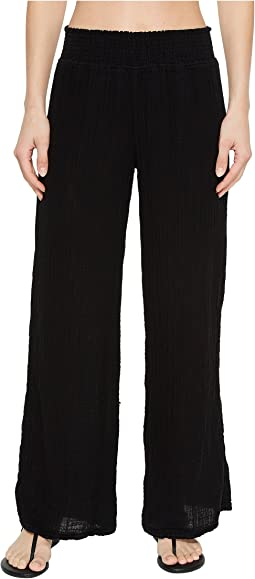 Double Gauze Smocked Wide Leg Pant