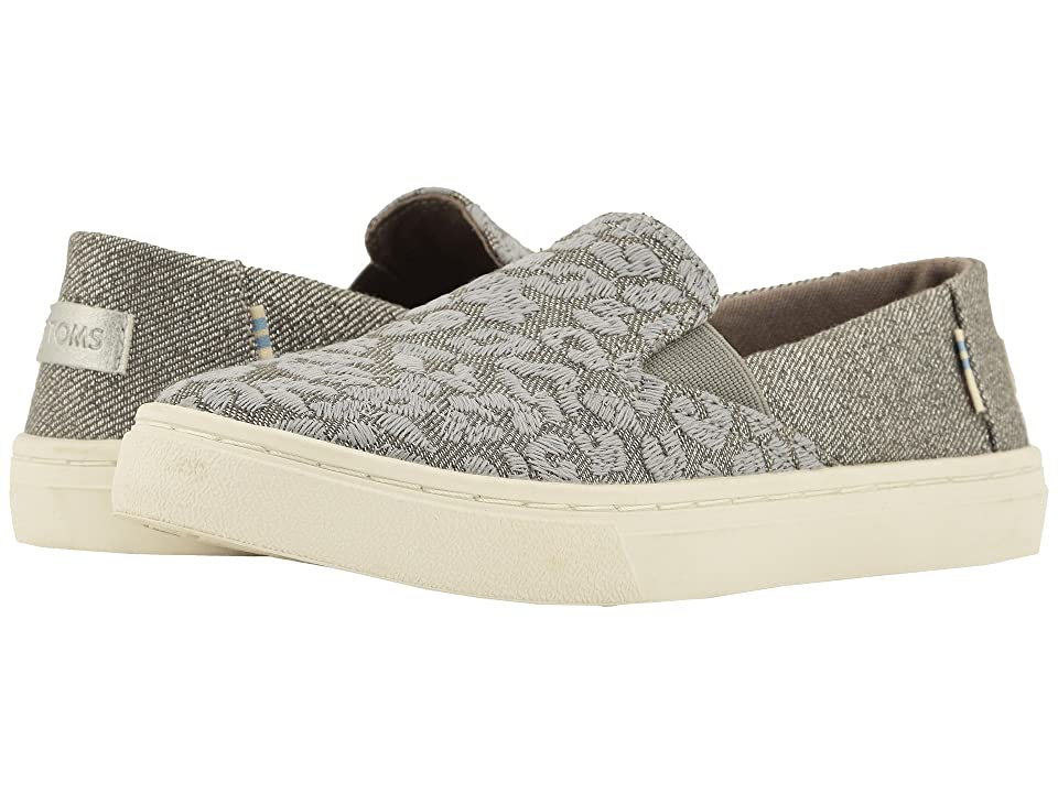 TOMS Kids Luca (Little Kid/Big Kid) (Neutral Gray Cheetah Embroidery/Twill Glimmer) Girl