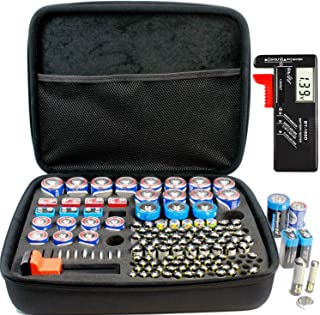 Full Size Battery Organizer Storage case with Digital Battery Tester/Checker, C D 9V AA AAA Battery Organizer(No Battery Included)
