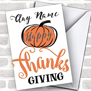 Simple Swirly Pumpkin Personalized Happy Thanksgiving Card