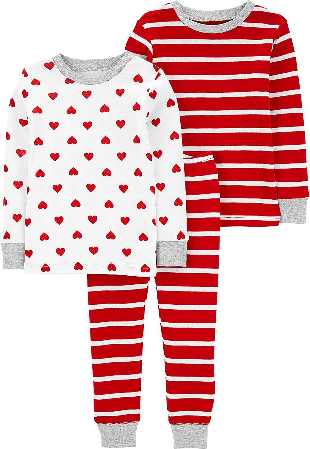 Simple Joys by Carter's Baby, Toddler, and Little Kids' 3-Piece Snug-fit Cotton Valentines Pajama Set