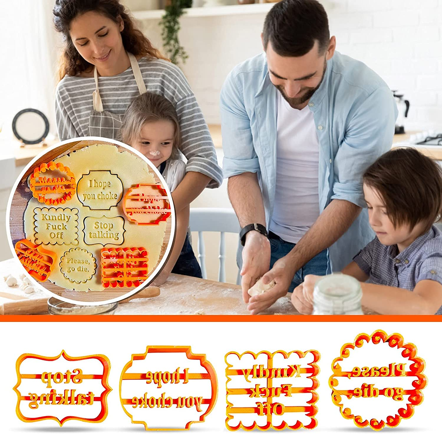 Funny Cookie Moulds Luxury goods for Baking with Good Wishes C half Molds