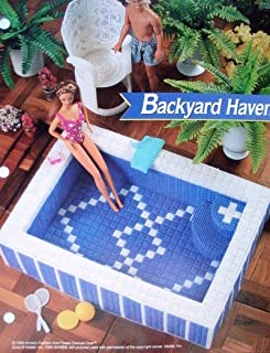 Backyard Haven - Hot Tub & Chair PLASTIC CANVAS PATTERN for Barbie or Fashion Doll Dollhouse from Annie's Fashion Doll Plastic Canvas Club