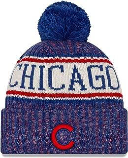 New Era 2019 Sideline Sport Knit Winter Pom Knit Hat Cap (Chicago Cubs)