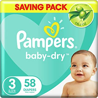 Pampers Baby-Dry Diapers, Size 3, Medium, 6-10kg, 58 Count