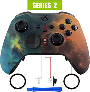 eXtremeRate Gold Star Universe Patterned Faceplate Cover, Soft Touch Front Housing Shell Case Replacement Kit for Xbox One Elite Series 2 Controller Model 1797 - Thumbstick Accent Rings Included