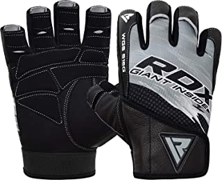 RDX Weight Lifting Gloves for Gym Workout - Leather Wrist Strap, Breathable with Anti Slip Palm Protection - Great Grip for Fitness, Bodybuilding, Powerlifting, Strength Training, Cycling & Exercise