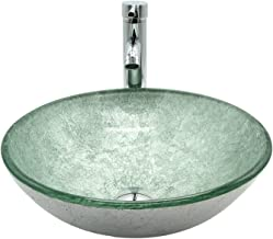 Ainfox Bathroom Vessel Sink, Tempered Glass with Faucet Pop-up Drain Round