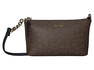 Calvin Klein Hayden Monogram Crossbody (Chocolate) Cross Body Handbags