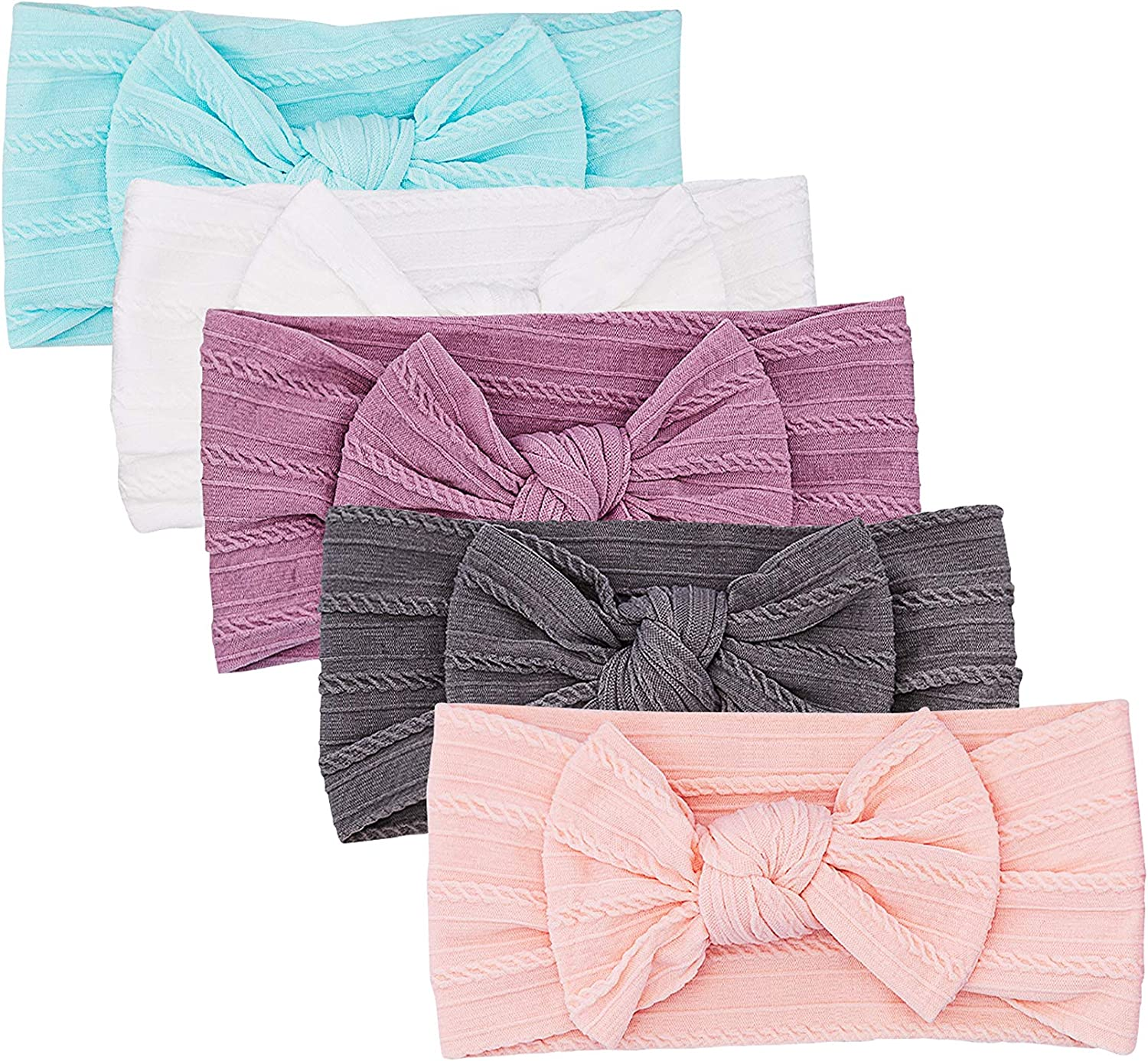 Parker Wholesale Baby Girl Headbands - 5 Pack San Diego Mall Nylon for of Bows Cable Knit