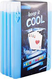 Ice packs for Lunch Box - Freezer Ice packs - Slim Long Lasting Cool packs for Lunch Bags and Cooler, Set of 4, Poker Design (Mix)