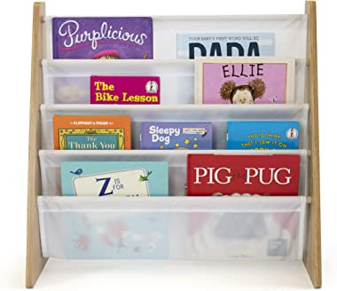 Humble Crew, Natural/White Kids Book Rack Storage Bookshelf with Deep Sleeves, Universal