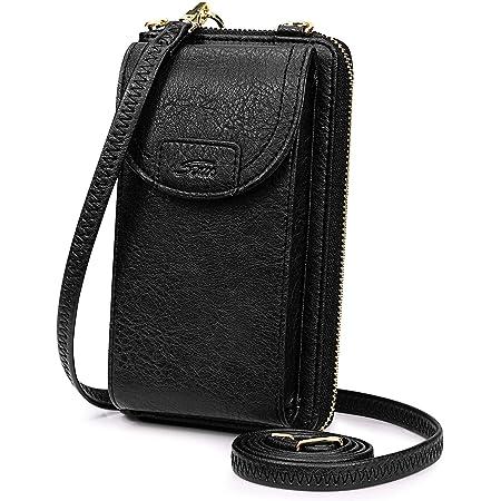 """S-ZONE Damen Handy-Umhängetasche PU Leder RFID Blockierung Handytasche Geldbörse mit Kartenfächer Verstellbar Abnehmbar Schultergurt Passt Handy unter 6,5"""" (Vintage-Schwarz)"""