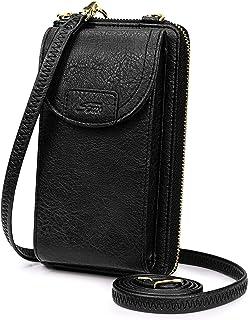 S-ZONE Damen Handy-Umhängetasche PU Leder RFID Blockierung Handytasche Geldbörse mit Kartenfächer Verstellbar Abnehmbar Sc...