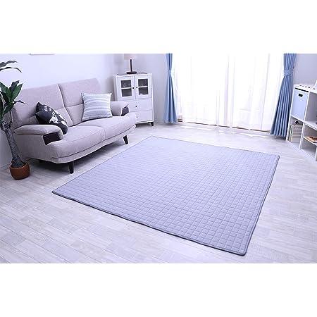 フリーリー ラグ カーペット 綿100% 185×185cm キルティングラグ 洗える 2畳 カーペット ラグマット 洗える 絨毯 じゅうたん オールシーズン (Mサイズ・ライトグレー)
